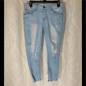 VIP Light Wash Frayed Skinny Jeans